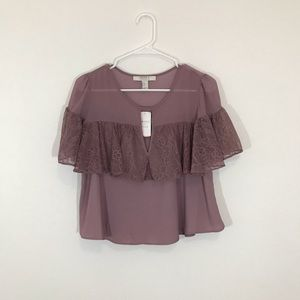 NWT Forever21 Lace Ruffle and Chiffon Blouse
